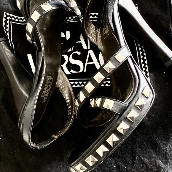 Versace Shoes - Leather Studded Versace Couture High Heels | Kiana